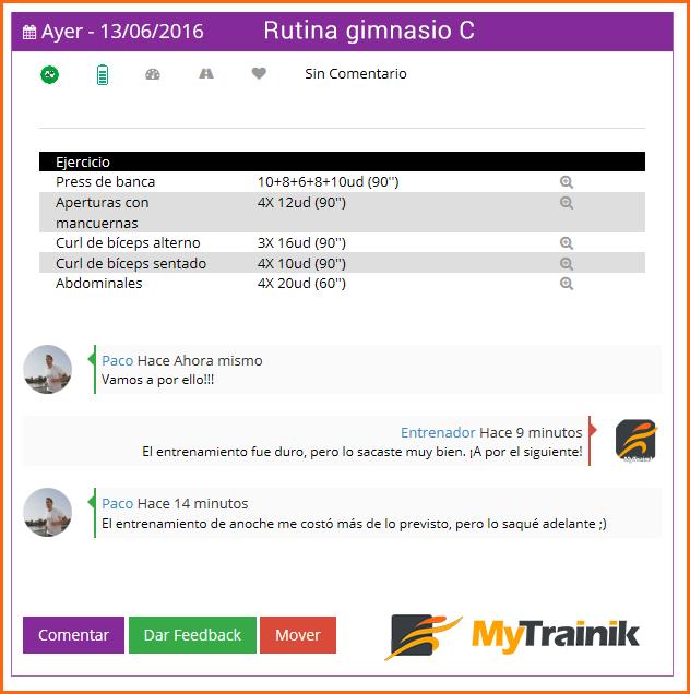 Comentrarios en MyTrainik, software para entrenadores personales