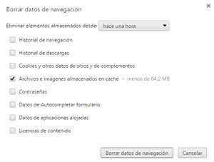 Borrar cache de Google Chrome