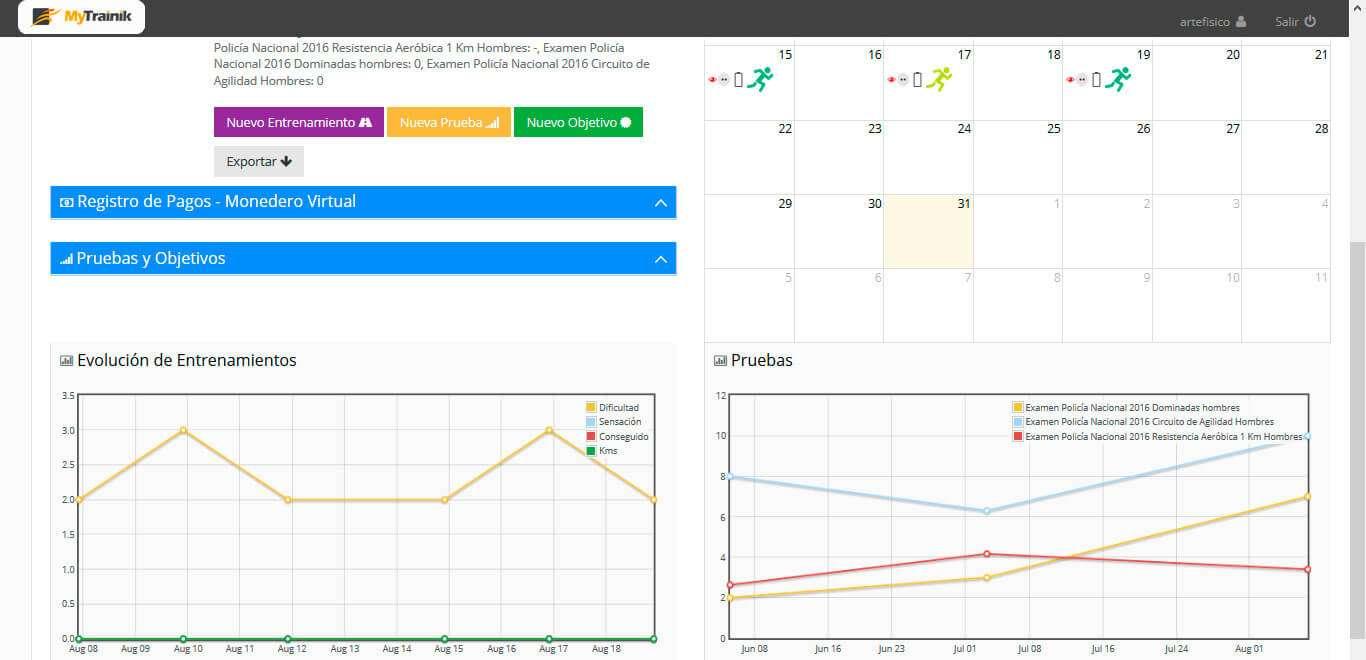 Gráficos de un Usuario en MyTrainik